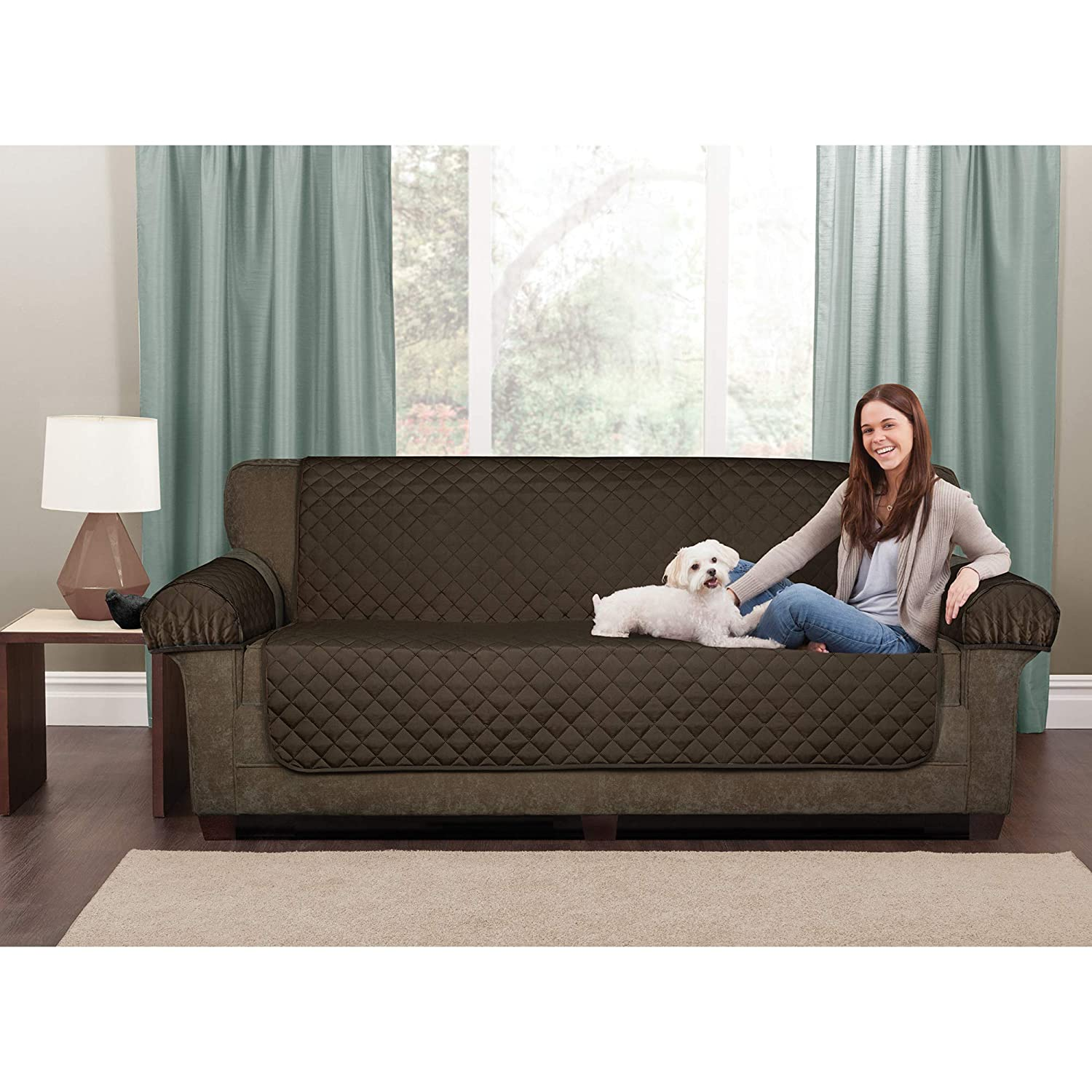 Amazon.com  MAYTEX Casual Smart Quilted Faux Suede Waterproof 3 Piece  Loveseat Furniture Pet Cover Protector 228377137f