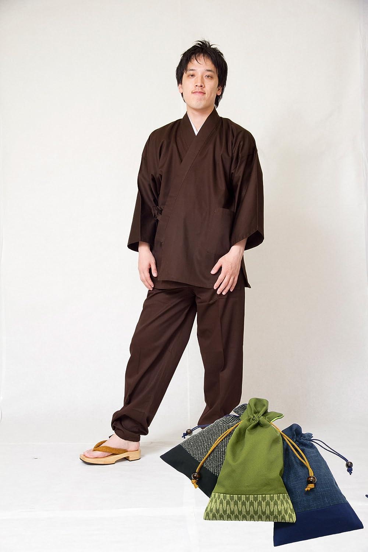 【日本製】 綾織作務衣【和粋庵】 (あやおりさむえ) 和粋庵特製巾着付き B00HVRJHBS LL|3番色 濃茶 3番色 濃茶 LL