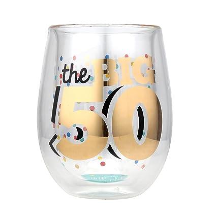 amazon com top shelf double wall stemless 50th birthday wine glass