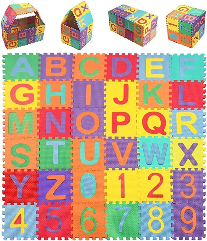 Interlocking EVA Floor Tiles with Alphabet and Numbers 36PCS Kangler Kids Foam Puzzle Play Mat