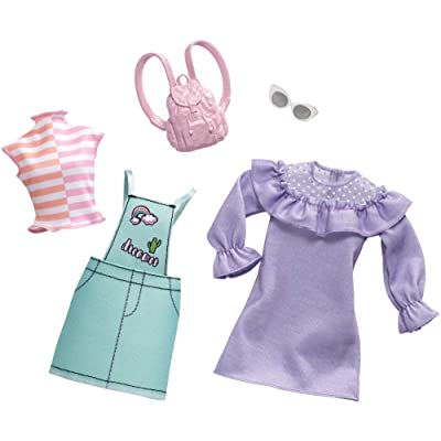 Barbie Clothes: 2 Outfits Doll Feature Pastels Like Light Green Overalls with Cute Graphics and Pink Backpack, Gift for 3 to 8 Year Olds: Toys & Games