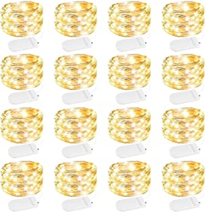 16 Pack Fairy Lights, 7Ft 20LED Waterproof Battery Operated Firefly String Lights with Flexible Silver Wire for Wedding Centerpieces, Mason Jar Craft, Christmas Garlands, Party Decorations, Warm