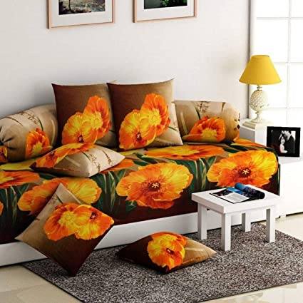 848b91aab Buy Decorista Cotton Diwan Set with Cushion Covers and Boosters  (Multicolour) Online at Low Prices in India - Amazon.in