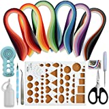 Juya Paper Quilling Kits with 30 Colors 600 Strips and 8 Tools (Paper Width:3mm, Blue Tools) (Color: Blue Tools, Tamaño: Paper Width:3mm)