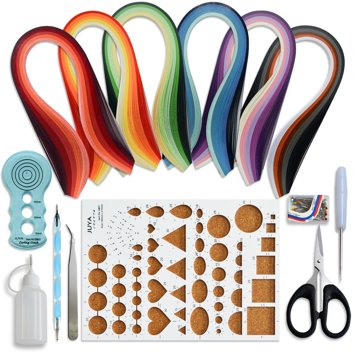 Juya Paper Quilling Kits with 30 Colors 600 Strips and 8 Tools (Width:3mm with Glue, Pink Tools) QK11