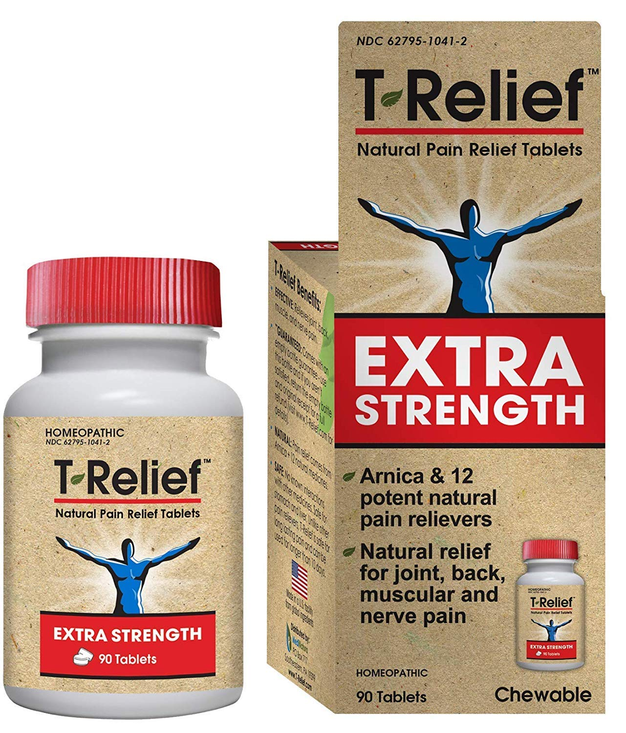 T-Relief Extra Strength Pain Relief Tablets for Minor Joint Pain, Back Pain, Muscle Pain, Nerve Pain & Arthritis Pain - Homeopathic Formula with Arnica - 90 Tablets