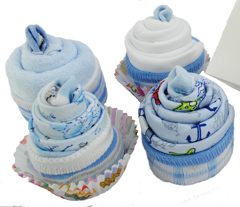 Cupcake mit Waschlappen Babysocken Geschenke F/ür Babys Kleider und Bandana L/ätzchen f/ür Junge Neugeboren