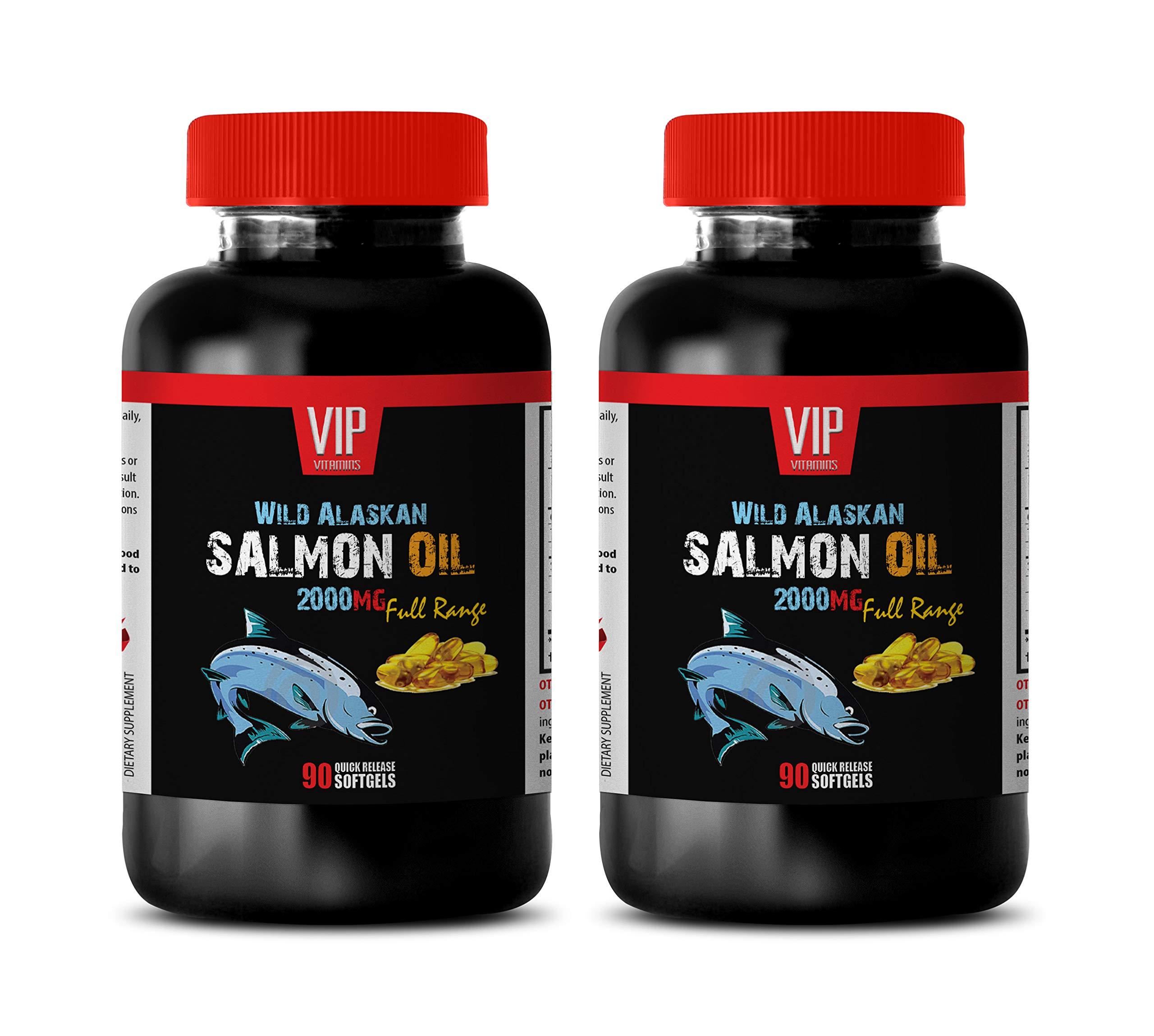 Cholesterol lowering Products - Wild Alaskan Salmon Oil 2000 - Fish Oil Omega 3 for Women - 2 Bottles 180 Softgels
