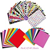 Asian Hobby Crafts Multicolour A4 Sheets -Combo Pack of 40