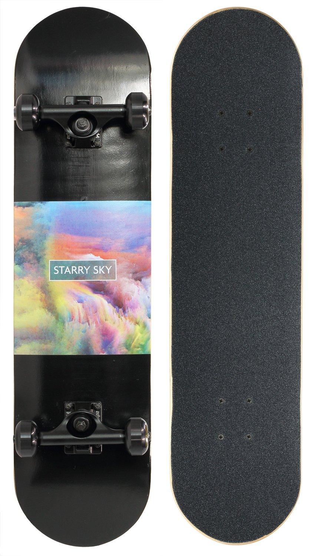 Merkapa 31'' Pro Complete Skateboard 7 Layer Canadian Maple Double Kick Deck Concave Skateboards (Starry Sky)