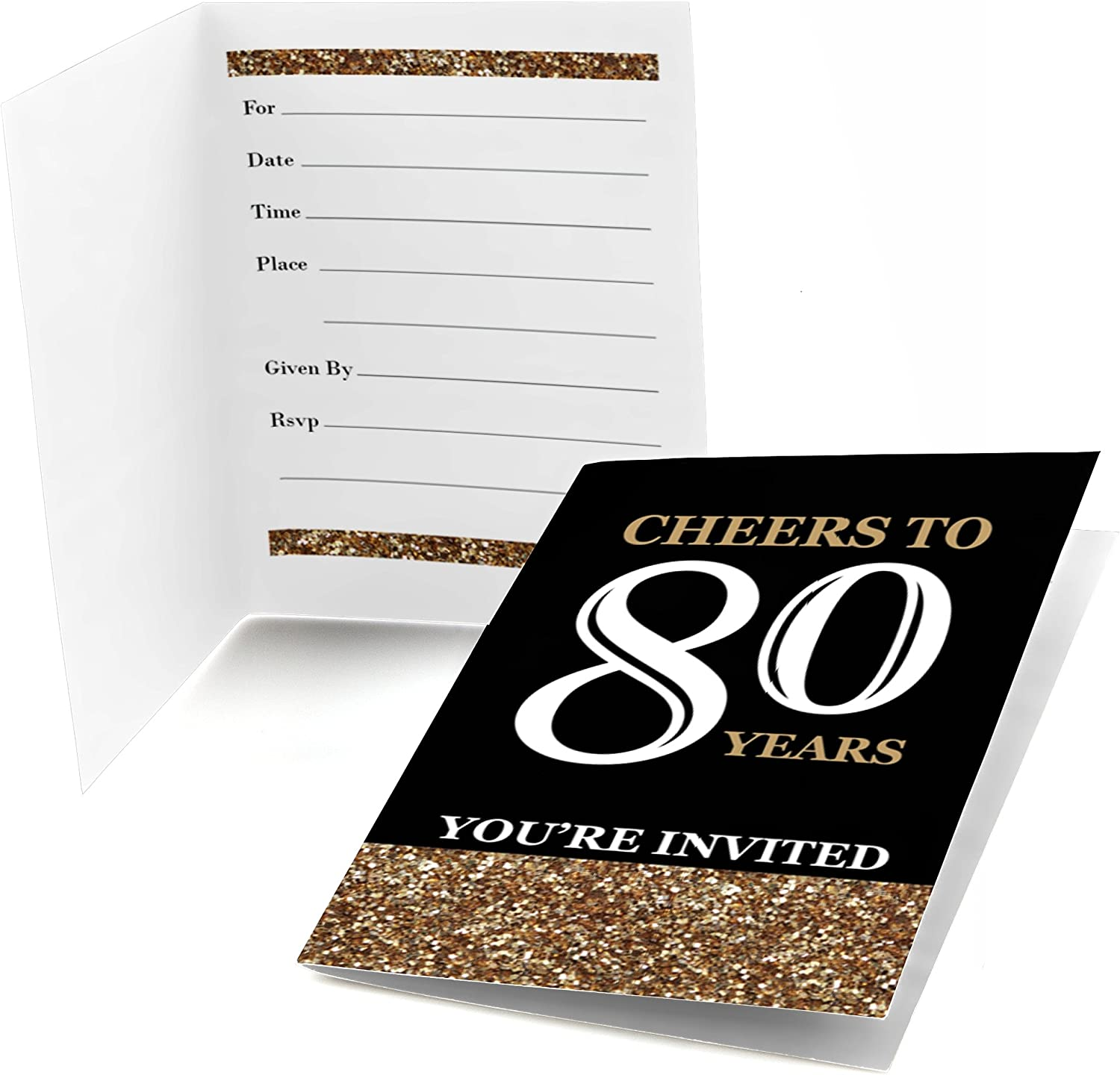 Amazon.com: Big Dot of Happiness Adult 80th Birthday - Gold - Fill-in Birthday  Party Invitations (8 Count): Toys & Games