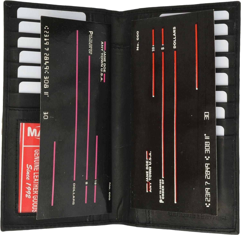 Men/'s Burgundy New Leather Long Wallet Pockets ID Card Clutch Bifold Purse