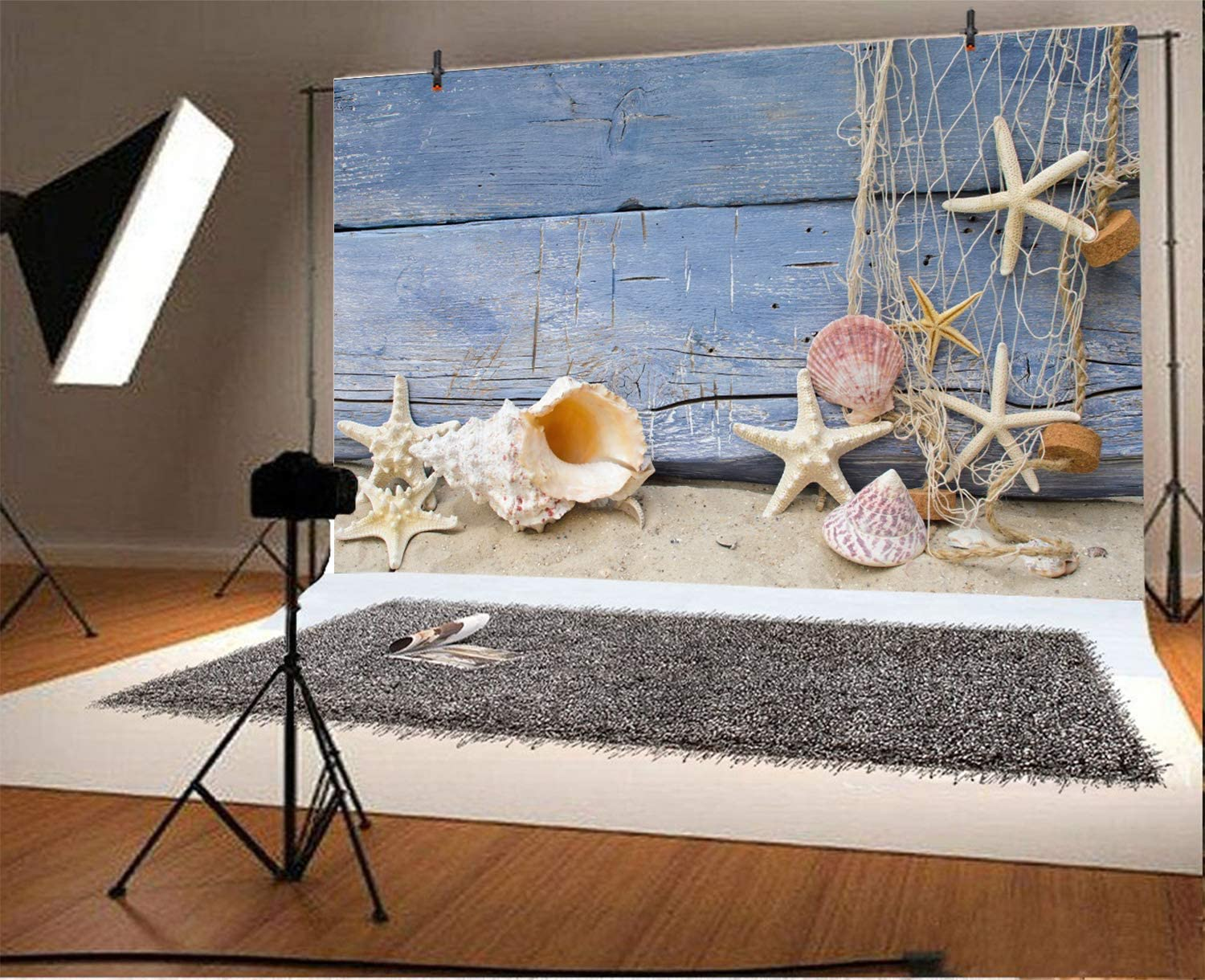 5x3ft Polyester Marine Life Backdrop Fishing Net Flotsam Starfish Shells Conch Sand Wooden Plank Board Wall Photography Background Baby Shower Sailor Children Happy Birthday Photo Booth Prop