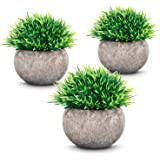 ODOM Small Fake Plants in Pots - Set of 3, Artificial Potted Plants Plastic Greenery for Home Decor Bathroom Farmhouse…