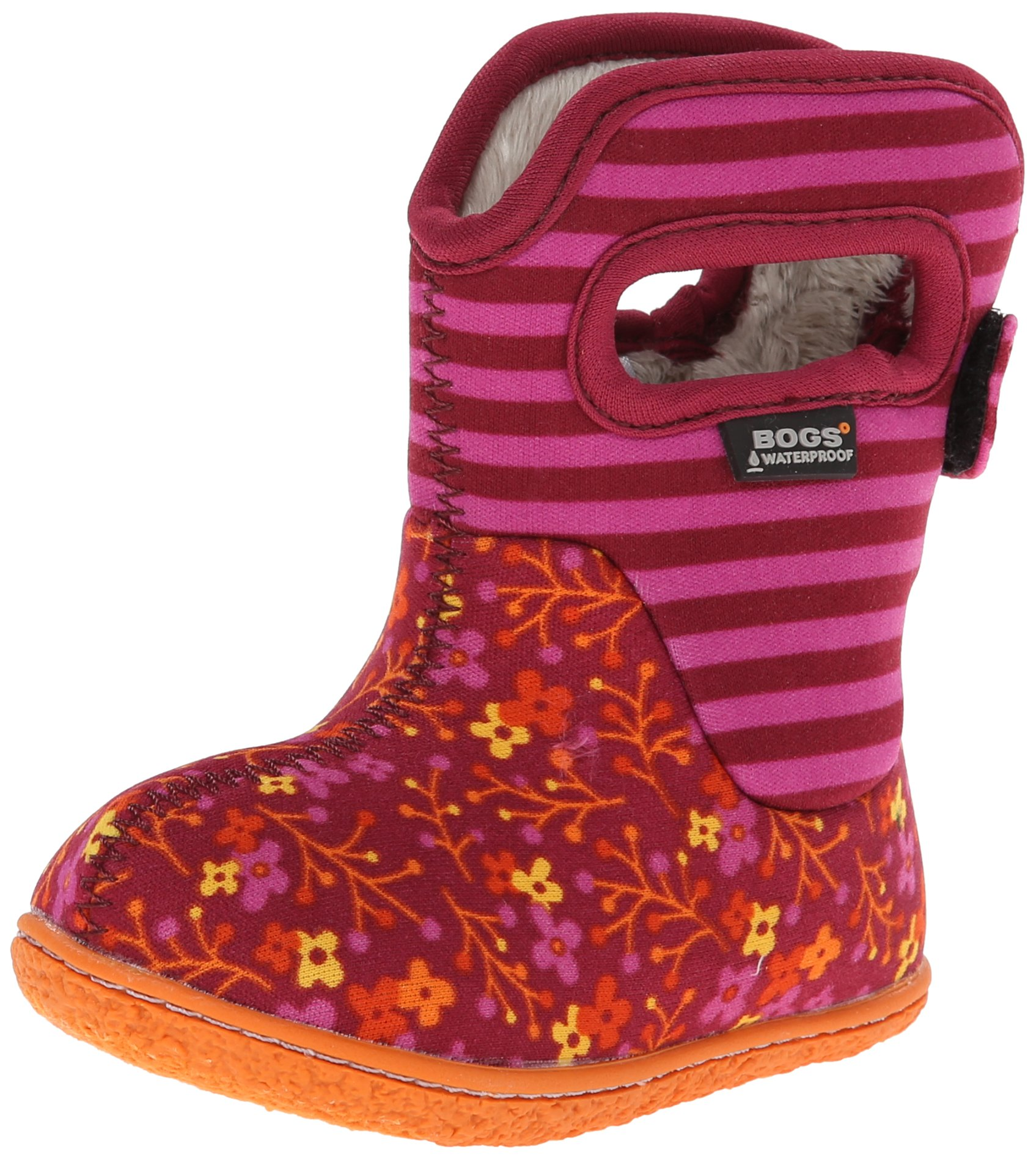 Bogs Baby Bogs Waterproof Insulated Toddler/Kids Rain Boots for Boys and Girls, Flower Stripe Print/Cranberry, 10 M US Toddler