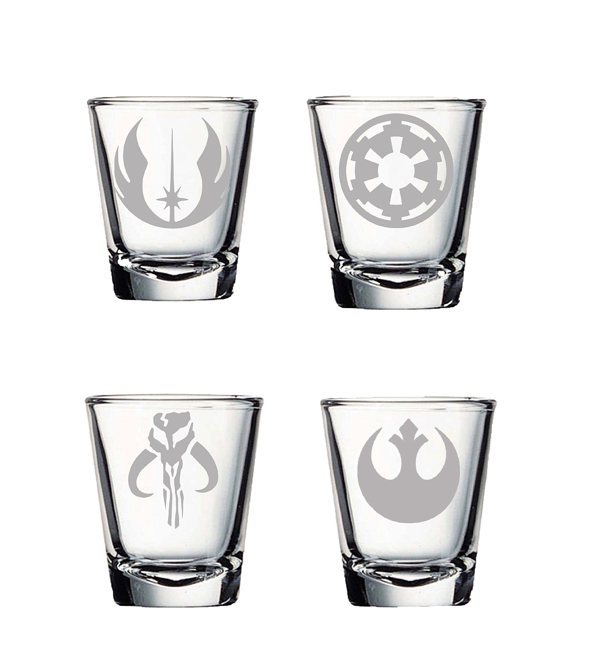 SW Shot Glass Set of Four: Mandalorian, Jedi Order, Rebel Alliance, Galactic Empire Etched Shot Glass Set