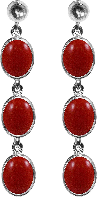 BJC® 9ct oro blanco Natural rojo Coral 9.00ct ovalado Triple Drop pendientes colgantes marca nuevo con caja de regalo