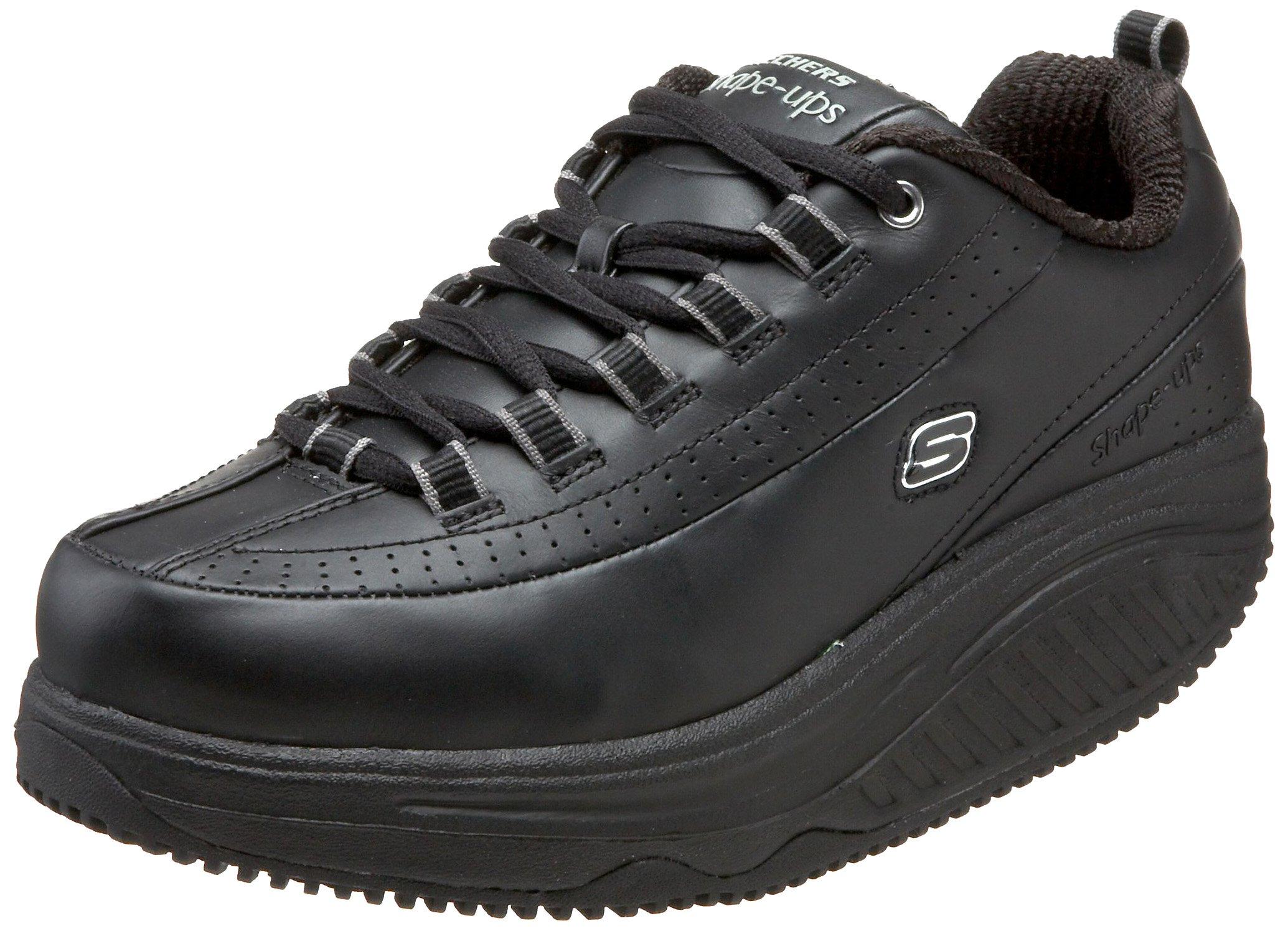 Skechers for Work Women's Shape Ups Slip Resistant Sneaker,Black,9 XW US by Skechers