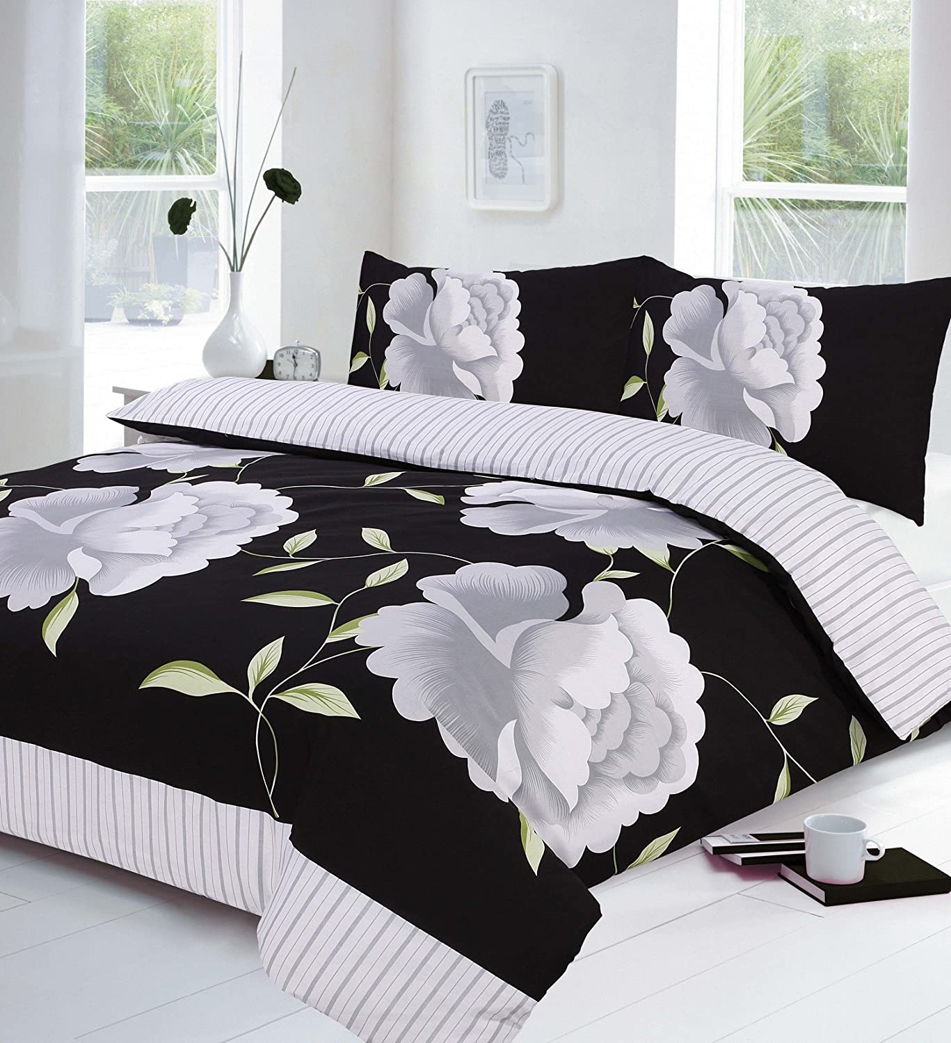 Black White And Grey Super King Size Duvet Quilt Cover Bedding