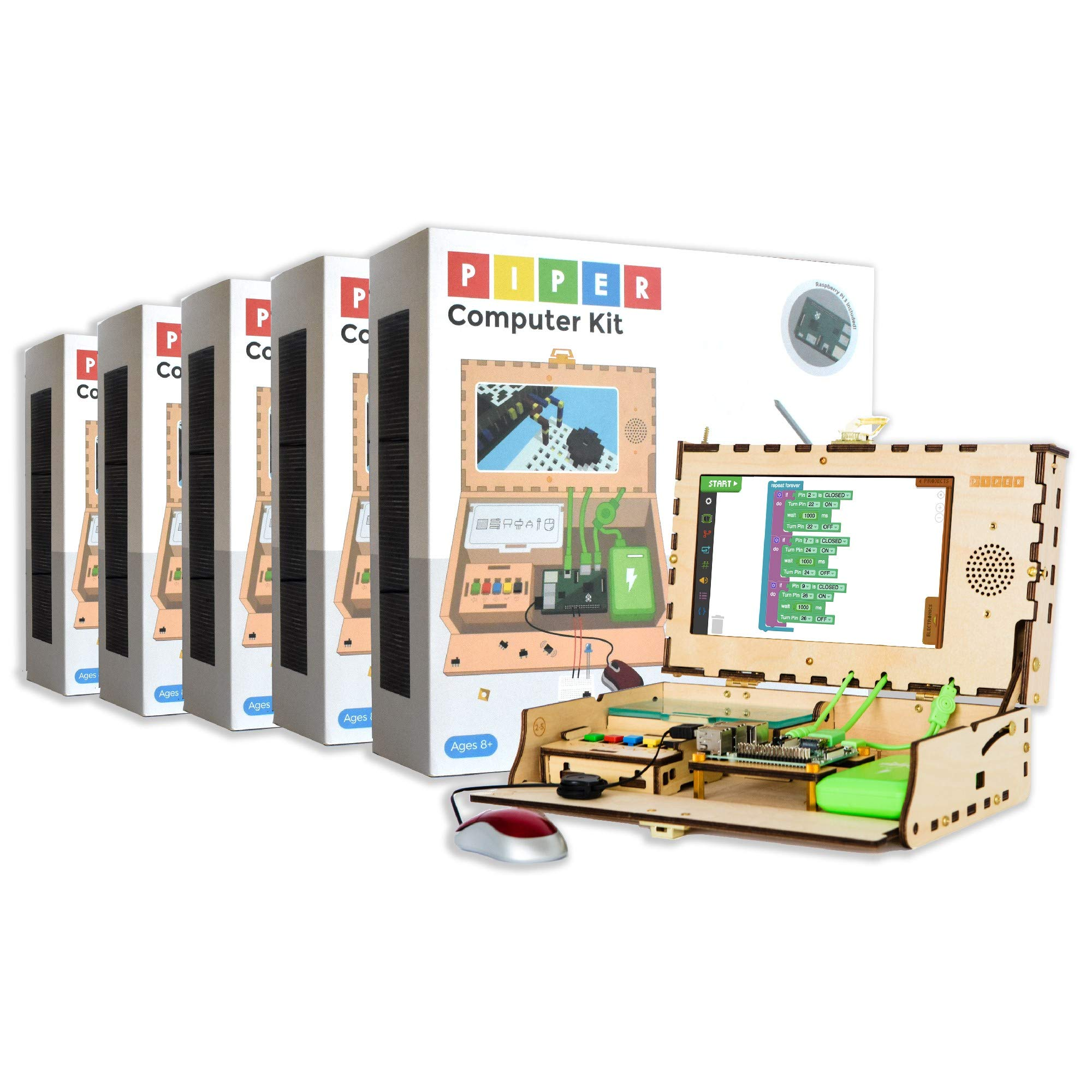 Piper Computer Kit - Education 5-Pack: Teach Kids to Code - Hands On STEAM Learning Toy with Minecraft: Raspberry Pi (New)
