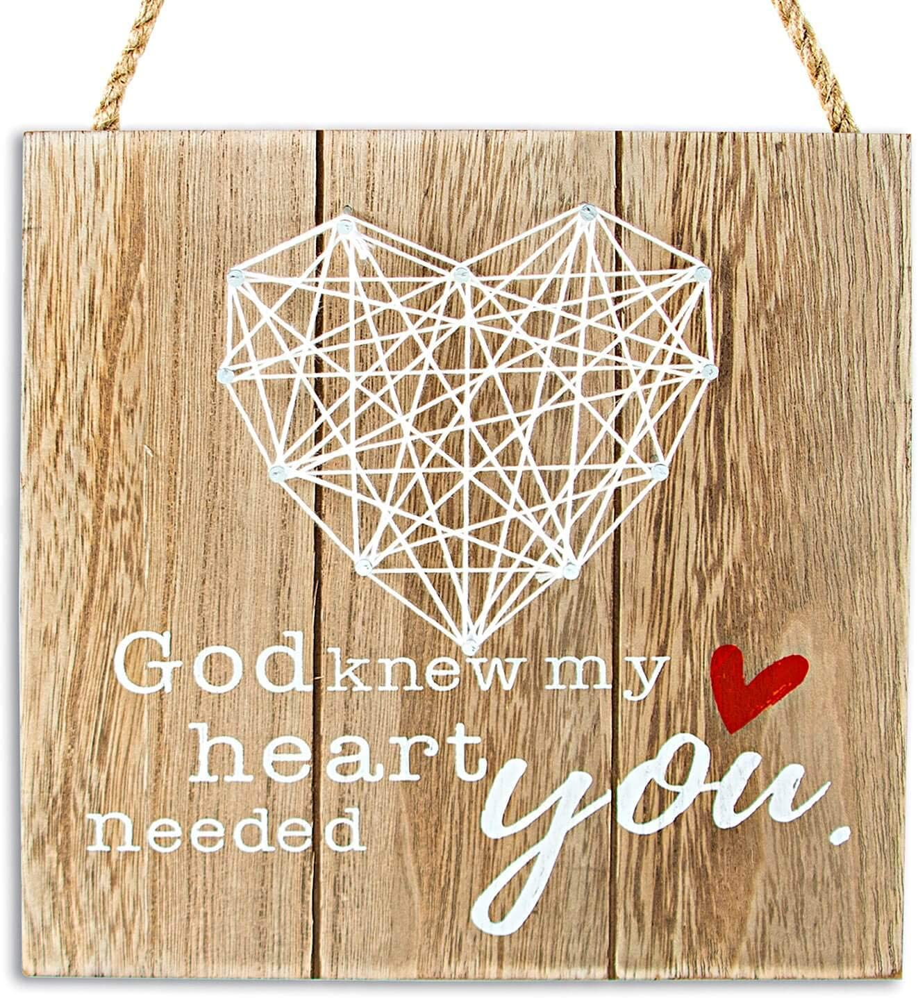 VILIGHT Rustic Farmhouse Wall Decor Heart Sign - Gifts for Boyfriend Girlfriend Husband Wife and Best Friend - My Heart Needed You Crafts for Him Her - 7.5x7.5 Inches