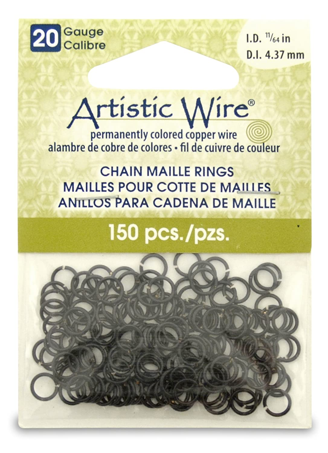 Artistic Wire Beadalon 11/64-inch 150 Piece 20-Gauge Chain Maille Rings, Black A314-20-02-07