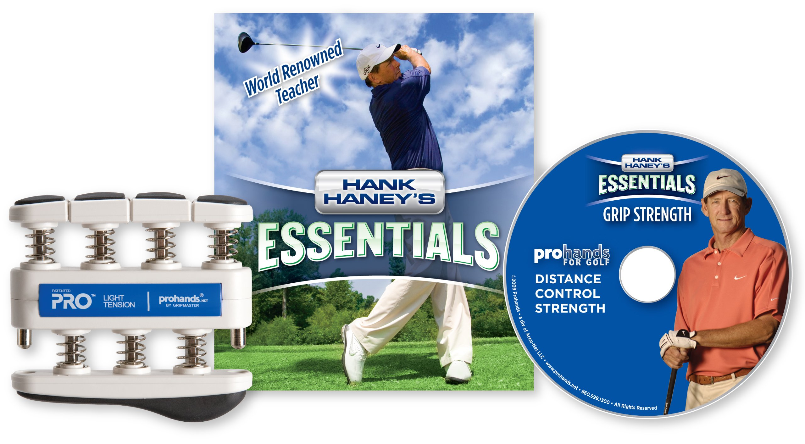 Hank Haney's Essentials Grip Strength DVD and Exerciser, Light Tension (5-Pounds per Finger) by Prohands
