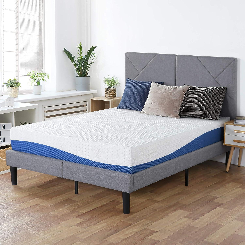 PrimaSleep Wave Gel Infused Memory Foam Mattress, 10'' H, Twin, Blue