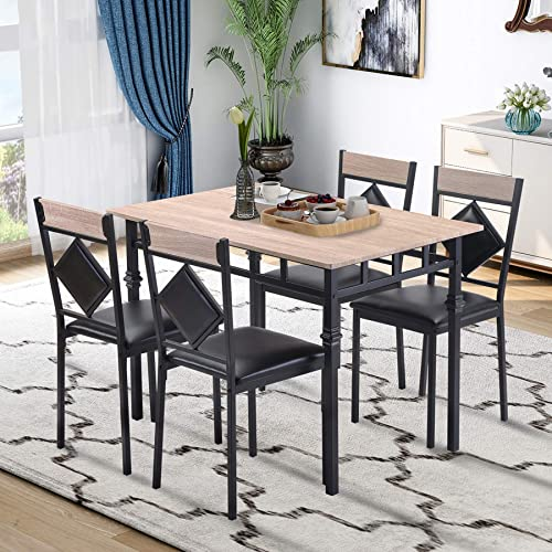 P PURLOVE 5 Piece Dining Table Set Kitchen Table and 4 Faux Leather Chairs Dining Room Table Set