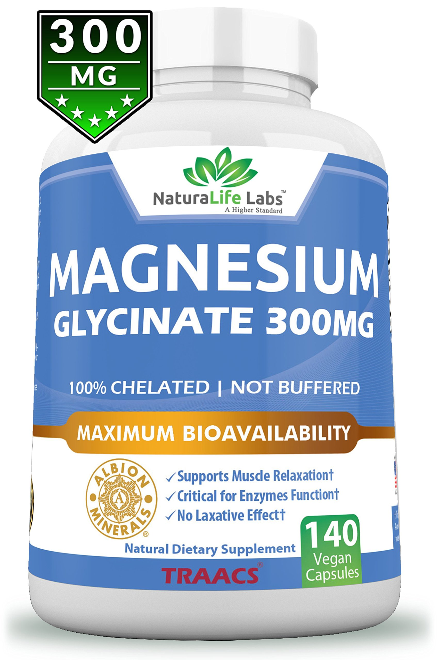 Magnesium Glycinate 300mg 140 Vegan capsules Maximum Bioavailability Chelate Not Buffered No laxative effect Albion TRAACS Vegan Helps Function of muscles, bones, heart Non-GMO