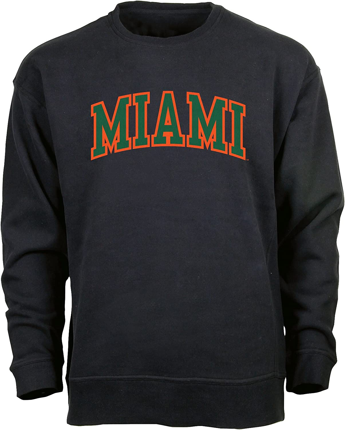 Ouray Sportswear NCAA Miami Hurricanes Mens Legacy DLX Crew Sweatshirt Large Black