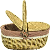 east2eden Honey Wicker Wicker Picnic Hamper Shopping Storage Basket with Red Gingham & Lace Liner