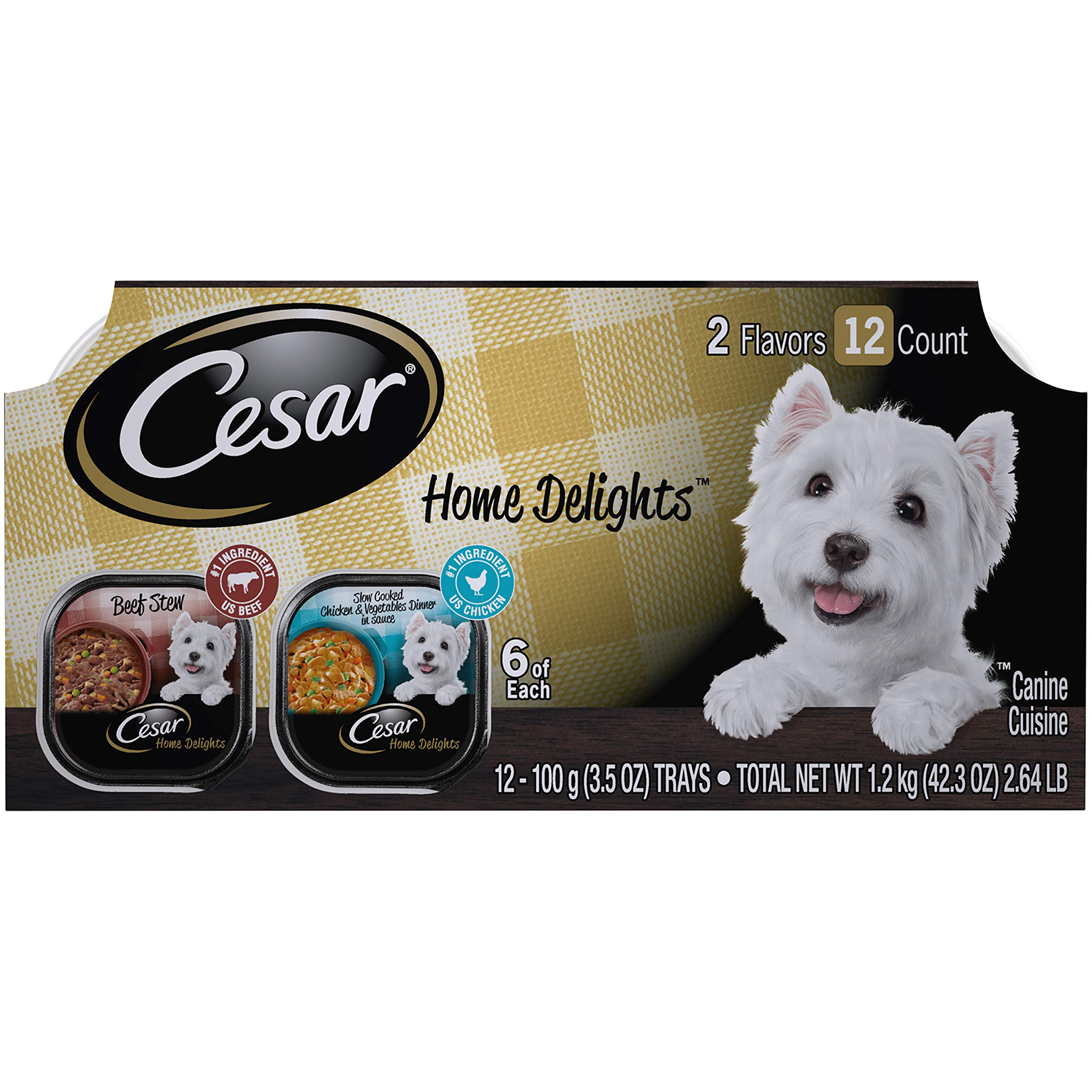 CESAR HOME DELIGHTS Soft Wet Dog Food Slow Cooked Chicken & Vegetables Dinner and Beef Stew Variety Pack, (12) 3.5 oz. Easy Peel Trays by Cesar