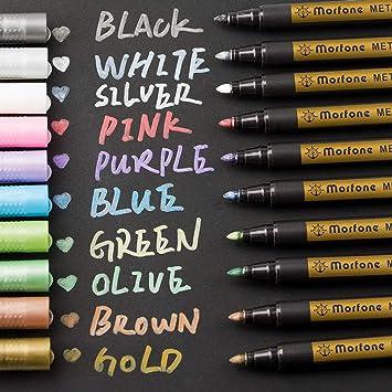 Metallic Marker Pens Morfone Set Of 10 Colors Paint Markers For Card Making Rock Painting Diy Photo Album Scrapbook Crafts Metal Wood Ceramic
