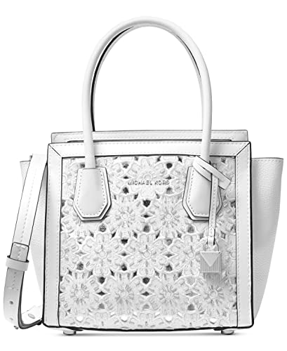 82d56d43a Amazon.com: MICHAEL Michael Kors Mercer Studio Medium Messenger Crossbody,  Optic White: Shoes