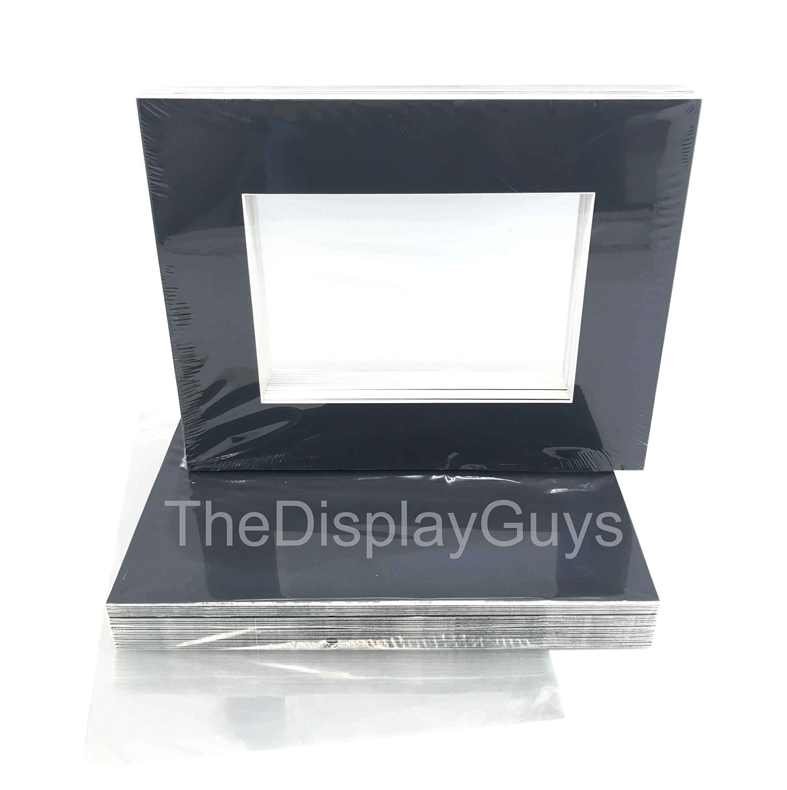 The Display Guys, 25 Sets 5x7'' inches Black Picture Photo Matting Mats Boards (White Core Bevel Cut) + Black Back Boards + Clear Plastic Bags (25 pcs Black Complete Set)