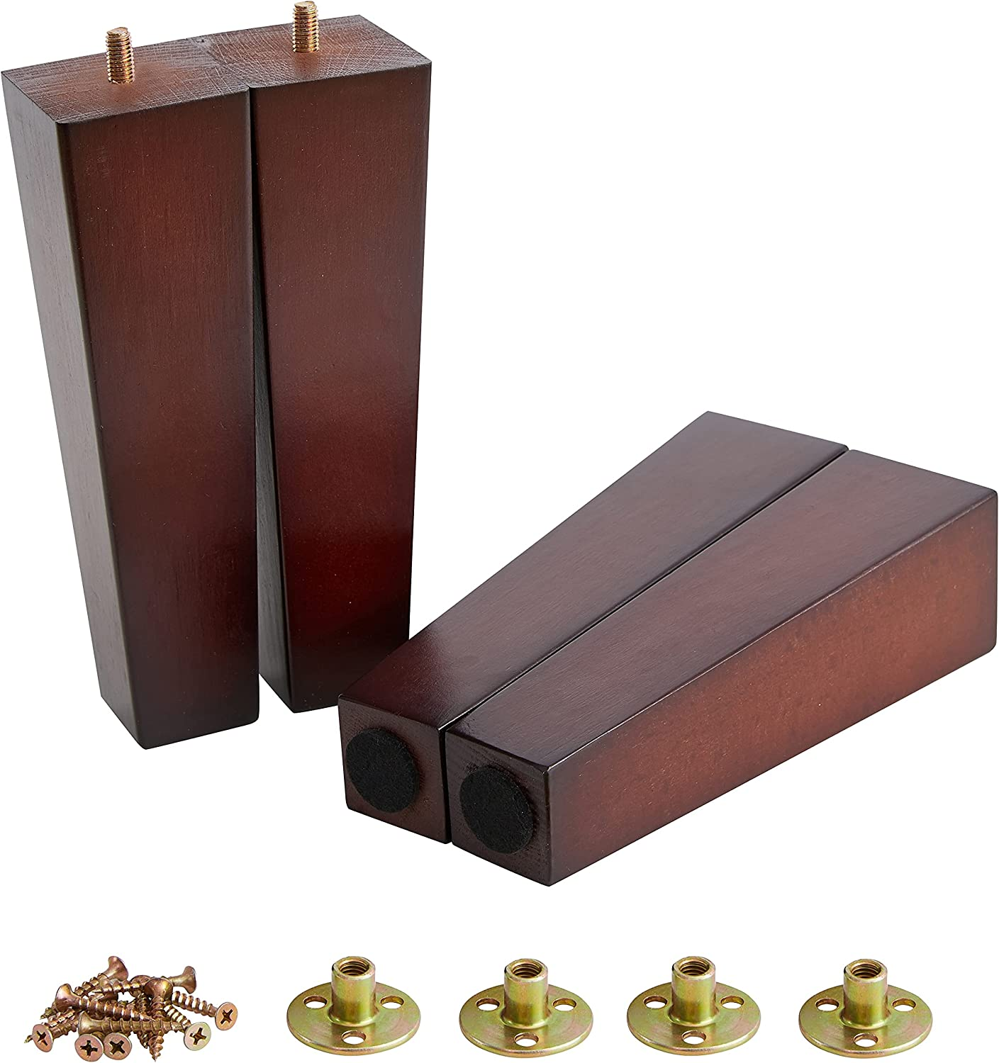 Ornavo Home Set of 4 Square Mid-Century Modern Brown 8 Inch Wood Furniture Legs Replacement for Sofa, Couch, Armchair, Recliner, Coffee Table & Dresser