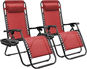 Homall Zero Gravity Chair Patio Folding Lawn Lounge Chairs Outdoor Lounge Gravity Chair Camp Reclining Lounge Chair with Cup Holder Pillows for Poolside Backyard and Beach Set of 2 (Red)