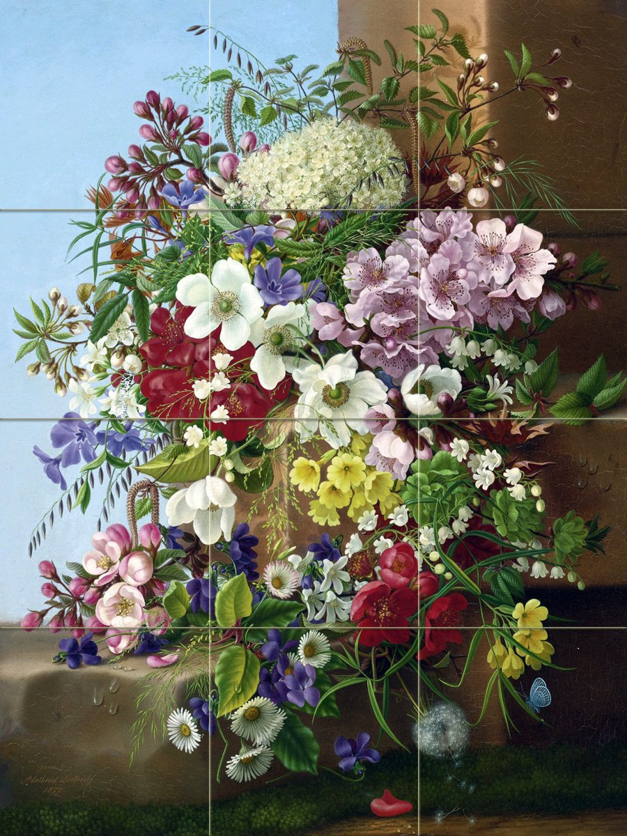 Bouquet of flowers tile mural kitchen bathroom wall Mural of flowers