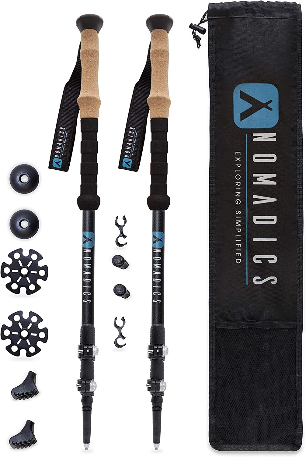 Nomadics Carbon Fiber Trekking Poles Ultra Lightweight, Heavy-Duty, AntiShock Hiking Sticks with Cork Grip Handles – Adjustable from 24 to 54 – Travel Bag and Replaceable Feet