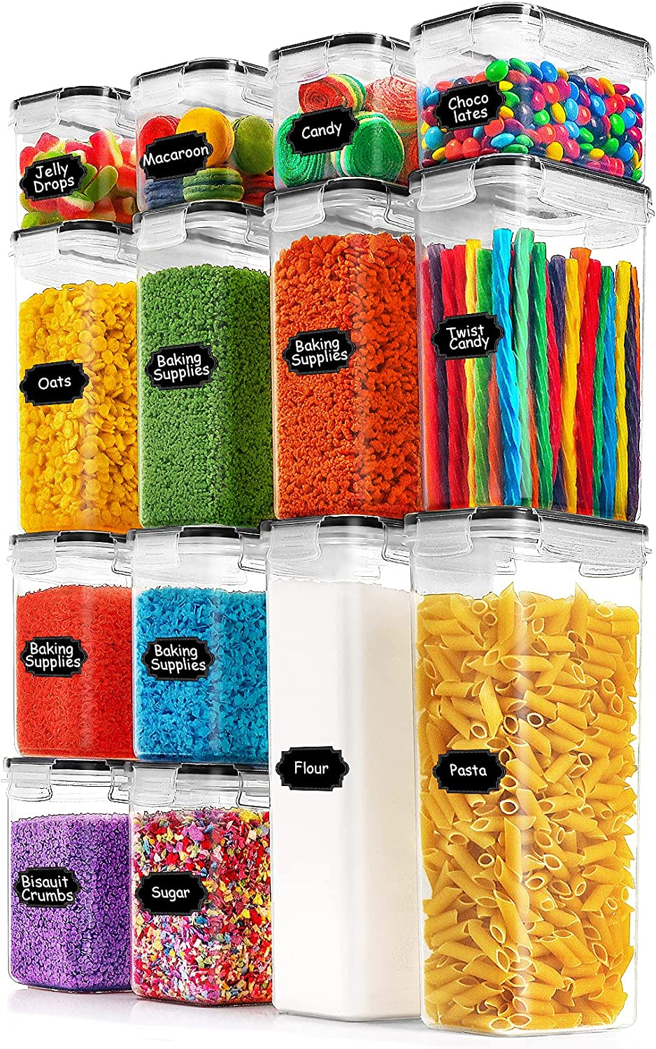 Paincco Airtight Food Storage Containers Set - 14pcs Plastic BPA Free Kitchen & Pantry Organization Canisters for Cereal, Flour & Baking Supplies, Include 20 Labels & 1 Marker, Black