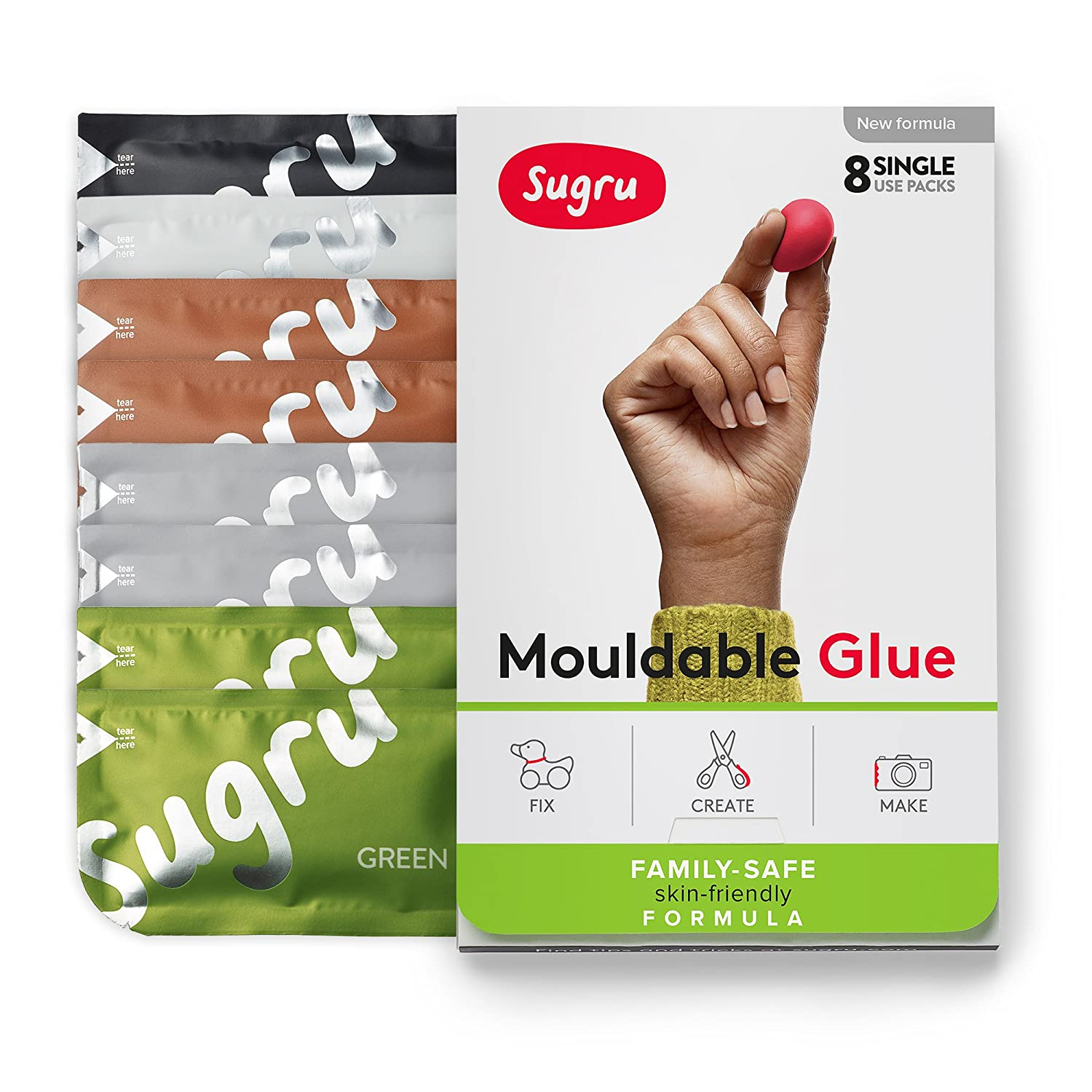 Sugru modellabile colla  –   family-safe | formula ipoallergenico  –   colori naturali 8-pack FormFormForm Ltd I000743
