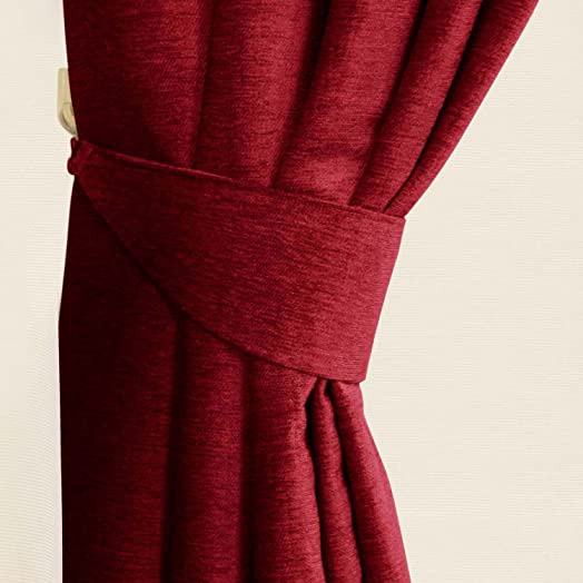 Homescapes Wine Red Chenille Curtains Tie Backs Pair, 2 Tie Backs For  Curtains U2013 Coordinating