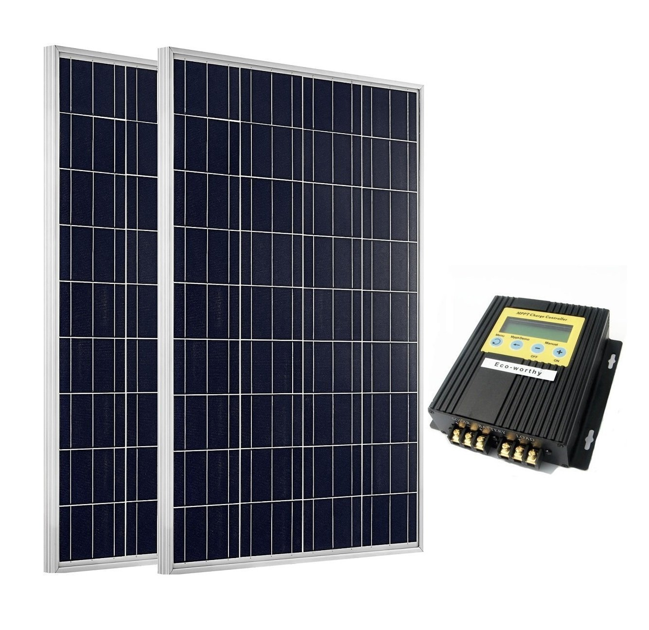 ECO-WORTHY 2 x 100Watt Poly Solar Panel Kit with 20A MPPT Controller for RV Boat Home Charger