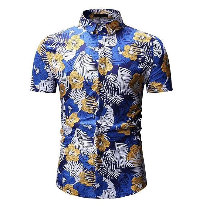 Fashion Print T Shirt Donci Casual Vacation Beach Summer Short Sleeve Tops Fashion Lapel Buttons Hot Deals Tees