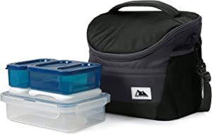 Arctic Zone High Performance Day Pack with 8pc Meal Prep Container Set-Black, 254oz