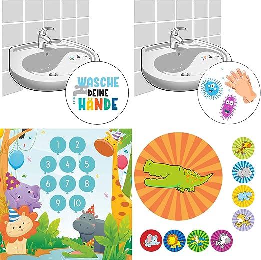 LK Trend & Style Set de recompensa > Animales de fiesta < + 2 pegatinas cada uno – Lavar tus manos/virus con mano: Amazon.es: Hogar