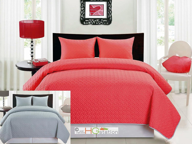 Amazon Com 3 Pc Herringbone Reversible Quilt Like Bedspread Blanket Set Shams Hot Pink Fuchsia Gray Silver Queen Home Kitchen