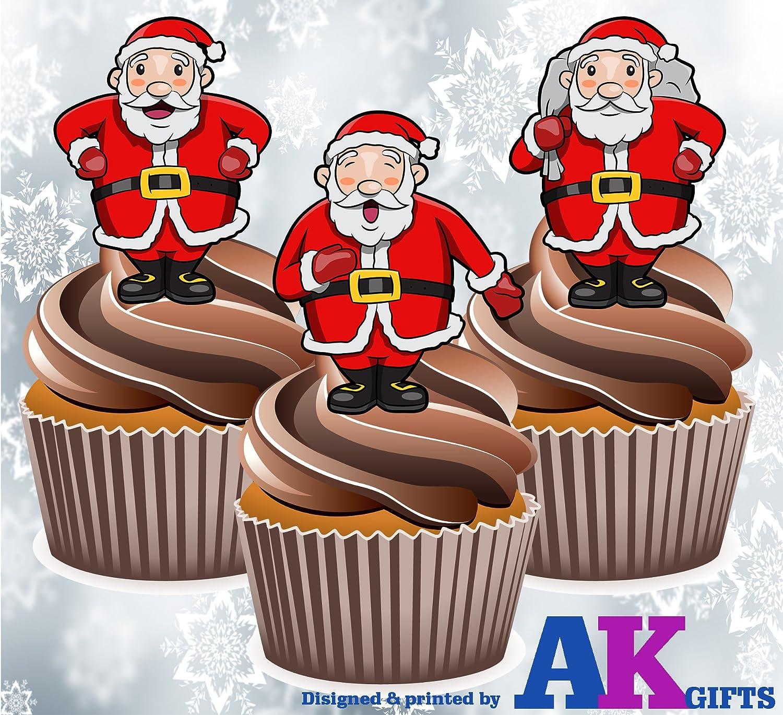 Santa Claus Noël Comestible Papier Riz ou décor papier gâteau Cupcake Décoration