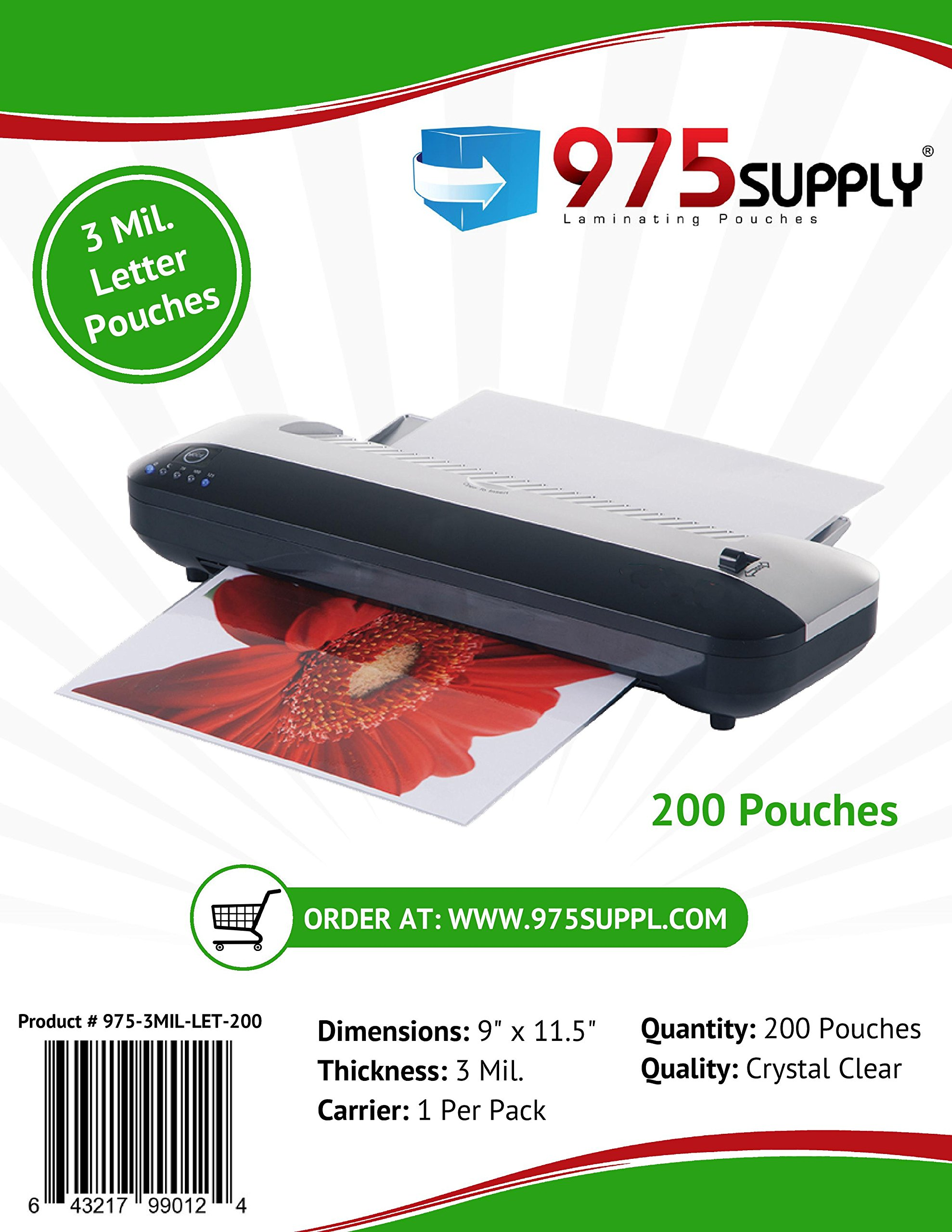 975 Supply 3 Mil Clear Letter Size Thermal Laminating Pouches, 9 X 11.5 inches, 200 Sheets by 975 Supply